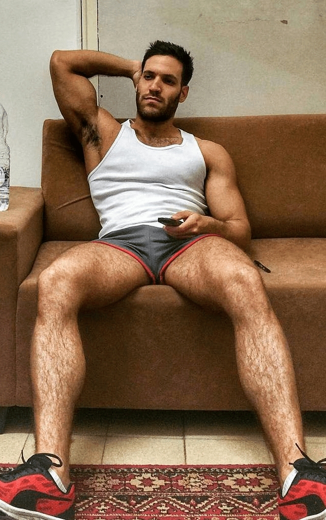 Man with hairy legs