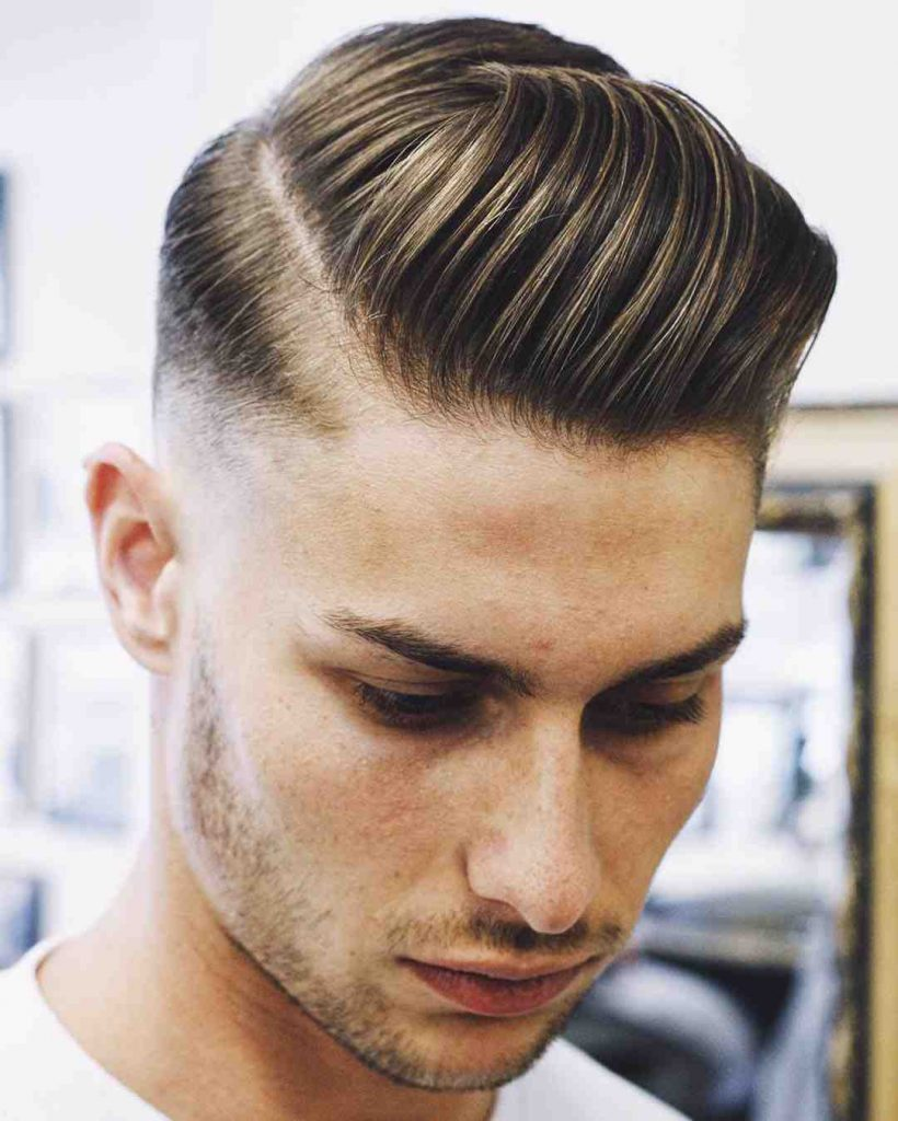 Slicked Back Parts Hairstyle for men short hair