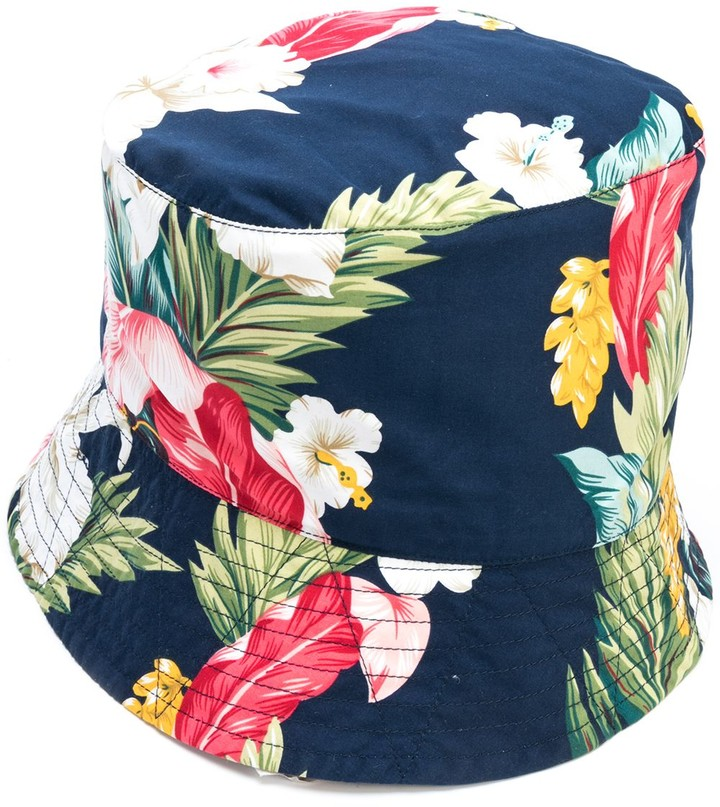 Tropical Print Poplin Bucket Hat Men summer hat
