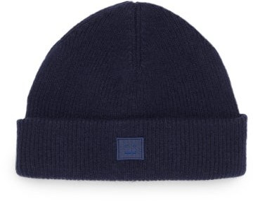 Acne Studios - Face-patch Ribbed Wool-blend Beanie - Navy
