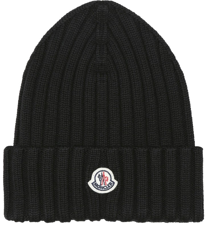 Moncler Logo ribbed-knit wool beanie